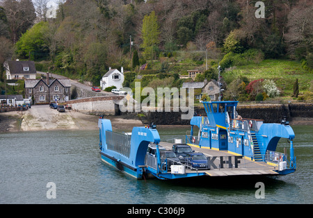 King Harry Ferry Bridge crossing River Fal Estuary from St Mawes on Roseland Peninsula to Feock, near Truro, Cornwall, - Stock Photo