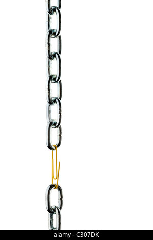 Steel chain is held together by a paperclip - Stock Photo
