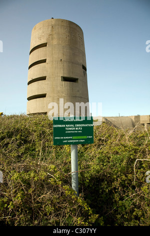 German direction finding tower Pleinmont Guernsey Channel islands - Stock Photo