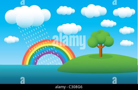 tree on island, clouds, summer rain and rainbow