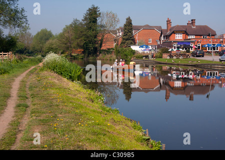 Wey Navigation canal at Stoke Lock, Guildford, Surrey, England - Stock Photo