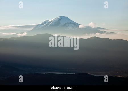 Cayambe Volcano from Cotacachi Volcano, Otavalo, Ecuador - Stock Photo