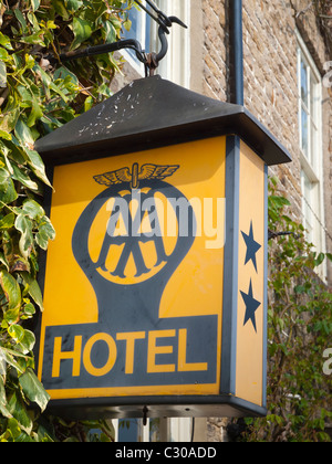 Old fashioned Automobile Association AA 2 star hotel sign - Stock Photo