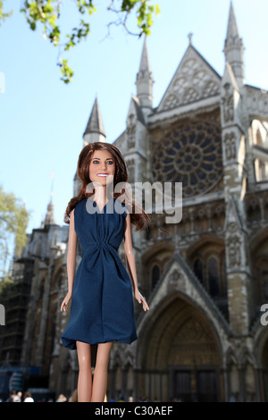 Kate Middleton, Princess Catherine, Duchess of Cambridge, Doll outside Westmister Abbey. - Stock Photo