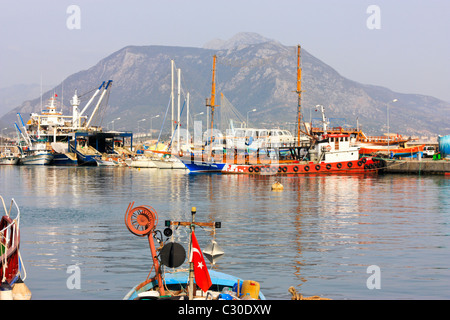 Ship Repair, Maintenance and Overhaul of Fishing Boats in the Harbour of Alanya, Turkey - Stock Photo