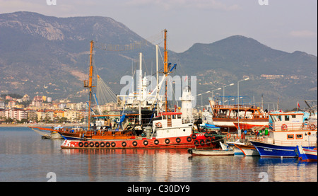 Fishing Boats in the Harbour of Alanya, Turkey - Stock Photo