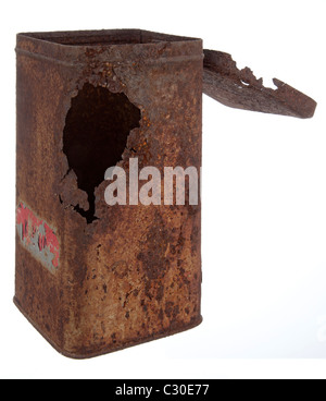 Old rusty tin can - Stock Photo