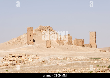 Palmyra. Syria. View of a tower burial chambers in the ghostly valley of the tombs. - Stock Photo