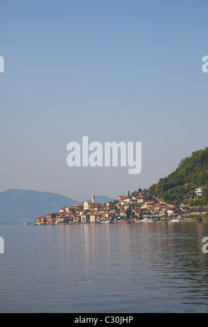 View from Sale Marasino of Peschiera Maraglio village and Iseo Lake in Italy. - Stock Photo