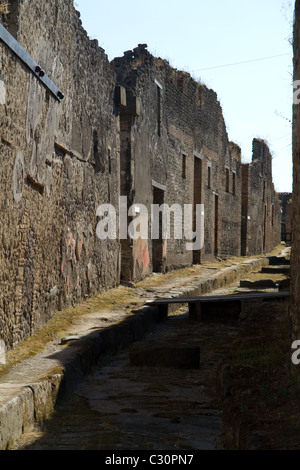 Street in the ruined city of pompeii - Stock Photo