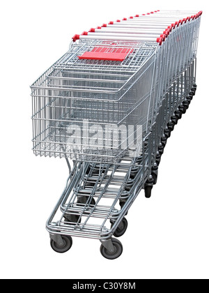 several shopping carts  isolated  on white background - Stock Photo
