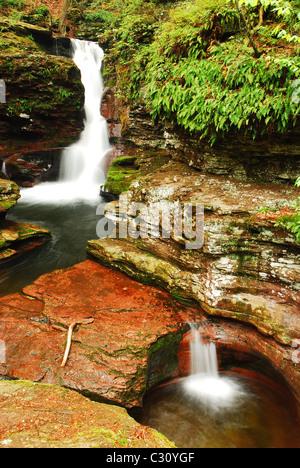 Adams falls In Ricketts Glen State Park, Pennsylvania - Stock Photo