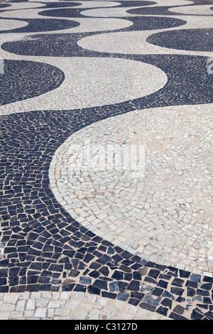 Mosaic pathway, Copacabana Beach, Rio De Janeiro, Brazil - Stock Photo