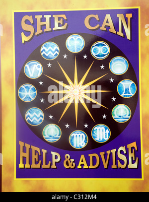 Advertising signs Romany gypsy fortune teller Weymouth England - Stock Photo