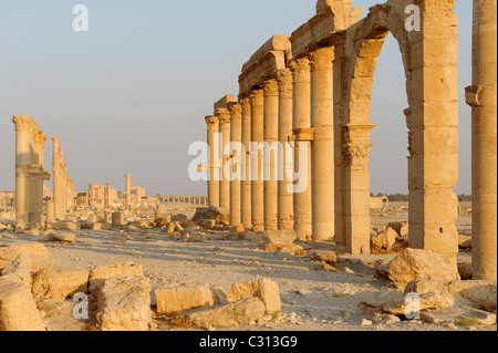Palmyra. Syria. View of the some of the pillars and porticoes that line the upper section of the Great Colonnade - Stock Photo