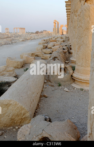 Palmyra. Syria. Part of the drainage pipes and system that lines the Great Colonnade Street - Stock Photo