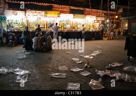 At the end of the day in Jamaa el-Fnaa square, Marrakesh market - Stock Photo