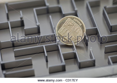 Pound coin in a maze - Stock Photo