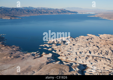 LAKE MEAD, LOOKING NORTH TOWARDS THE OVERTON ARM (aerial view). Largest reservoir in North America, Arizona / Nevada, - Stock Photo