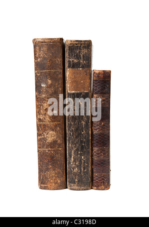 Old books with wear and tear isolated on white background - Stock Photo