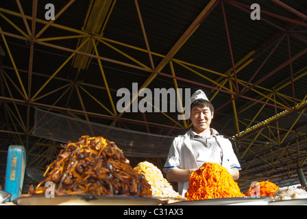 Fresh food vendor in the Tikinske Bazaar, Ashgabat, Turkmenistan - Stock Photo