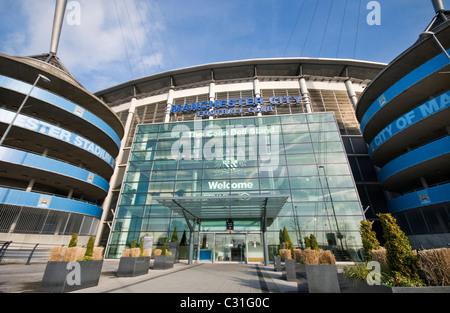 Manchester City's Etihad football stadium in England - Stock Photo