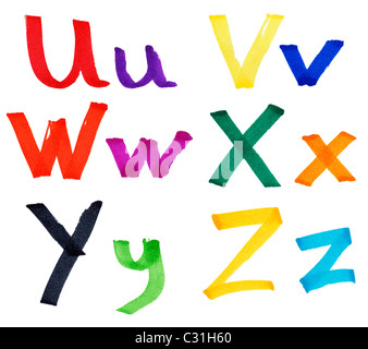 Very large U V W X Y letters in ink marker with details of the paper visible - Stock Photo