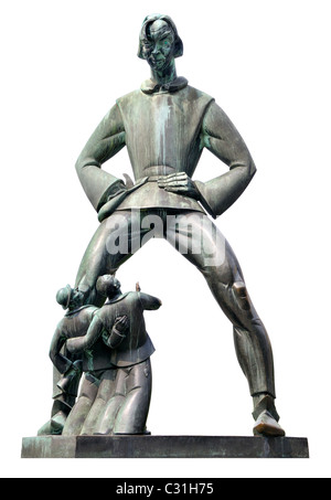 Antwerp / Antwerpen, Belgium. Bronze statue of 'Lange Wapper' by Albert Poels in front of Het Steen castle - Stock Photo