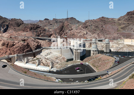 Hoover Dam, Lake Mead on Colorado River and Lake Mead near Las Vegas, Nevada. COncrete structure in river valley. - Stock Photo