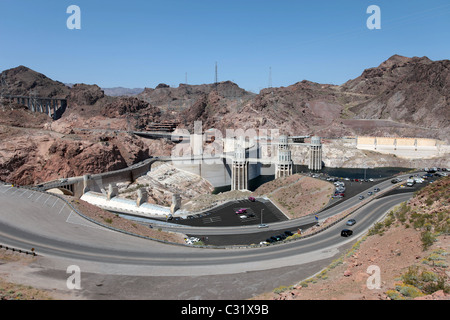 Hoover Dam on Colorado River and Lake Mead near Las Vegas, Nevada. COncrete structure in river valley. Roads and - Stock Photo