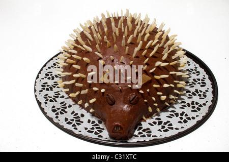 chocolate cakes look like hedgehog - Stock Photo