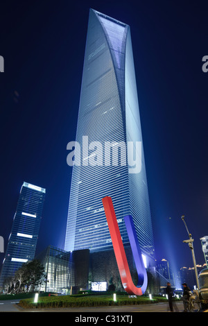 Evening view of the Shanghai World Financial Center in the Pudong District of Shanghai. - Stock Photo