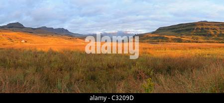 Panoramic view of the Mweni Valley at dawn, Drakensberg uKhahlamba National Park, Kwazulu-Natal, South Africa - Stock Photo