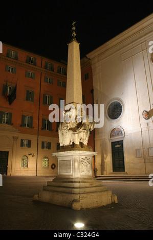 Rome - The Minerveo obelisk for the Santa Maria sopra minerva church in the night - Stock Photo