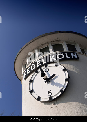 the Pegel-Koln or Tide scale of Cologne on banks of River Rhine in Cologne, North Rhine-Westphalia, Germany, Europe - Stock Photo