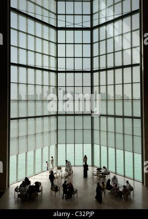 Viewing window at Museum of Islamic Art in Doha, Qatar, architect IM Pei - Stock Photo