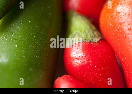 Green and red chilli peppers, full frame - Stock Photo