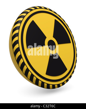 Target icon with radioactive warning symbol on white background - Stock Photo
