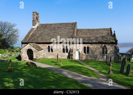 The historic St Peter's church in Heysham Village, near Morecambe, Lancashire, UK - Stock Photo