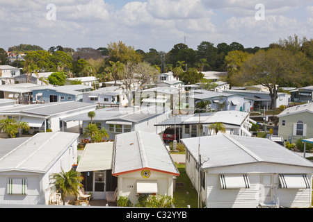 Mobile home park in Venice Florida - Stock Photo