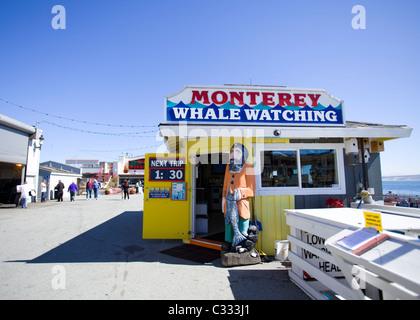 Monterey, California Whale watch center storefront on Fisherman's Wharf - Stock Photo