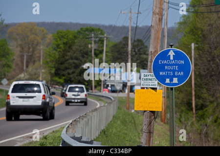 Evacuation Route for Emergency at Nuclear Power Plant - Stock Photo