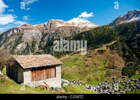 vals village in switzerland alps with alpine mountain landscape - Stock Photo