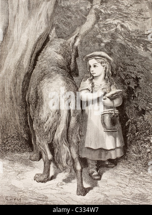Scene from Little Red Riding Hood by Charles Perrault. Little Red Riding Hood meets the Wolf in the forest - Stock Photo