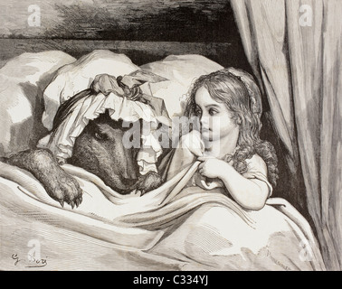 Scene from Little Red Riding Hood by Charles Perrault. Little Red Riding Hood in bed with the Wolf - Stock Photo