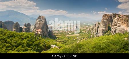 Panoramic View of the Monasteries of Meteora, Meteora Mountains, Plain of Thessaly, Greece, Europe - Stock Photo