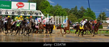 The Start of the 2010 Kentucky Derby at Churchilll Downs in Louisville, Kentucky - Stock Photo