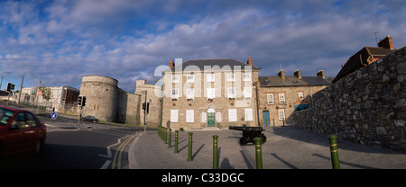 Limerick City,Co Limerick,Ireland;Exterior View Of King John's Castle And Bishops House - Stock Photo