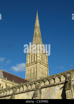 Salisbury Cathedral, Salisbury, Wiltshire, England - Stock Photo