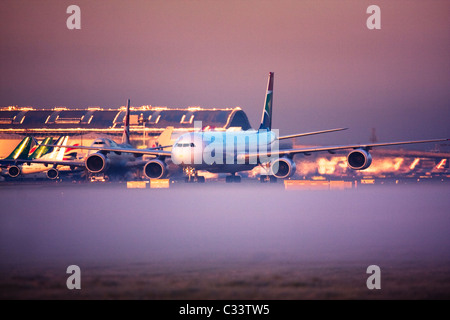 South African Airways Airbus A340-600 at London Heathrow Airport, UK - Stock Photo